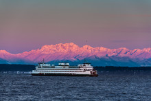 Ferry Crossing Puget Sound. Snow Capped Olympic Mtns.