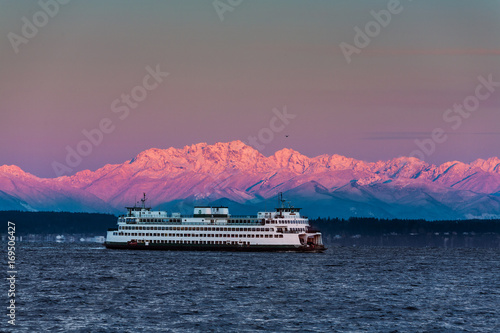 Ferry crossing Puget Sound. Snow capped Olympic Mtns. Wallpaper Mural