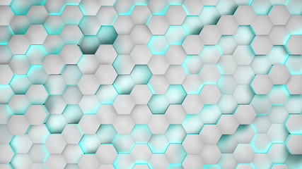 Hexagon textures with white light. 3D render