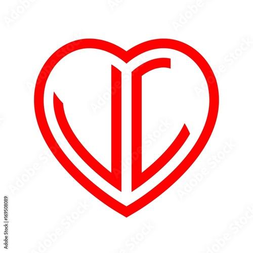 Initial Letters Logo Vl Red Monogram Heart Love Shape Buy This
