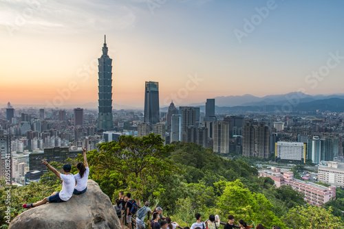 Taipei, Taiwan city skyline at sunset from view of Taipei City, make a hike to t Canvas Print