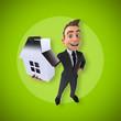 Leinwanddruck Bild - Fun businessman