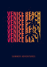 Venice Beach Summer Graphic With Palms. T-shirt Design And Print.