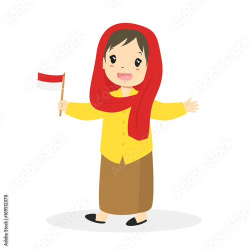 jakarta betawi girl wearing traditional dress and holding indonesian flag cartoon vector buy this stock vector and explore similar vectors at adobe stock adobe stock holding indonesian flag cartoon vector