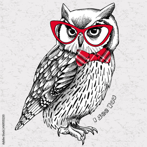Photo Stands Owls cartoon The image of an owl with bow and glasses. Vector illustration.