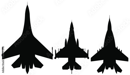 Vector Set Of Fighter Jet Silhouettes Su 27 Mig 29 F 16 Buy This Stock Vector And Explore Similar Vectors At Adobe Stock Adobe Stock