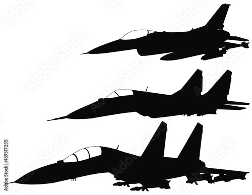 Vector Set Of Fighter Jet Silhouettes F 16 Mig 29 Su 27 Buy This Stock Vector And Explore Similar Vectors At Adobe Stock Adobe Stock