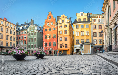 Old colorful houses on Stortorget square in Stockholm, Sweden