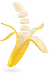 open and sliced banana floating on white