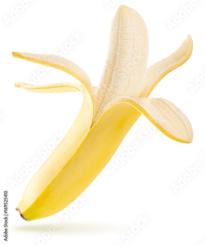 open ripe banana flying isolated on white