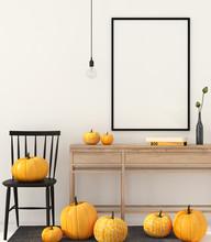 Mock Up Interior With Pumpkins