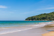 Blue sky and calm sea on Naithon Noi beach in Phuket Thailand