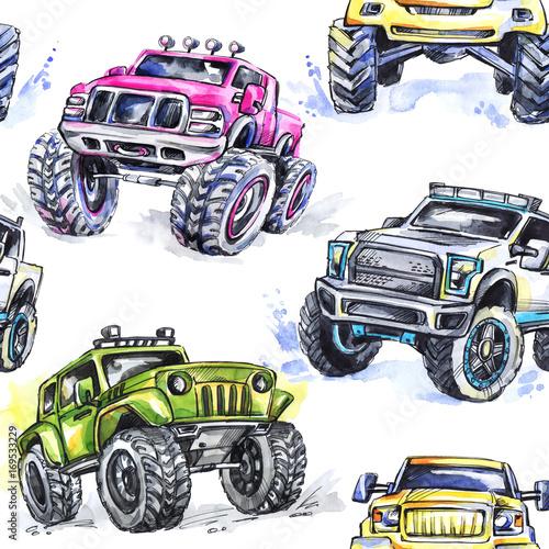 akwarela-bez-szwu-cartoon-monster-trucks-kolorowe-sporty-ekstremalne-tlo-4x4-pojazd-suv-off-road