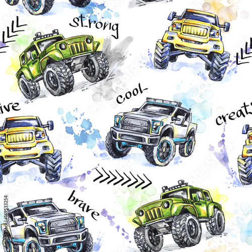 Akwarela bez szwu Cartoon Monster Trucks. Kolorowe sporty ekstremalne tło. 4x4. Pojazd SUV Off Road. Styl życia. Man's hobby. Transport.