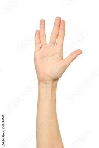 Photo  Female hand showing Vulcan Salute