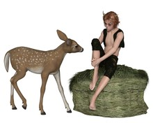 Cute Forest Elf Boy Or Faun, With A Young Deer - Fantasy Illustration