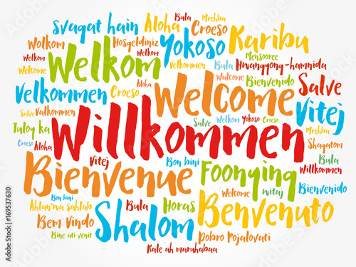 Fotografiet Willkommen (Welcome in German) word cloud in different languages, conceptual bac