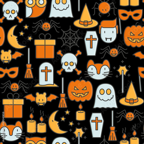 Cotton fabric Cartoon Halloween seamless pattern with thin line icons: vampire, bat, pumpkin. Vector illustration for invitation card, party announcement.