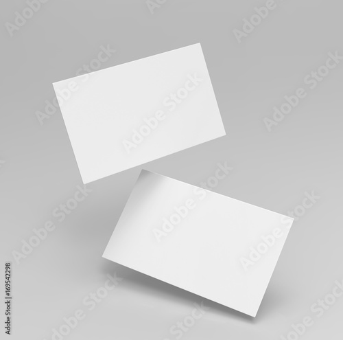 Valokuva  Blank white 3d visiting card template 3d render illustration for mock up and design presentation