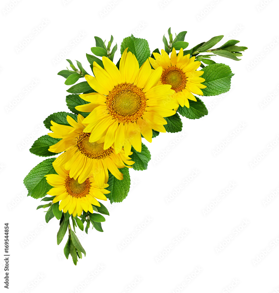Yellow sunflowers wave composition