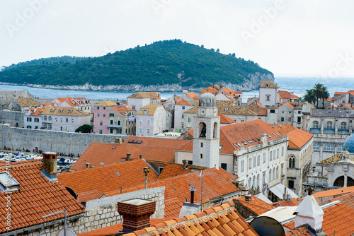 Fototapety, obrazy: View from the wall on the roof tops of the Old Town of Dubrovnik on a cloudy day, Croatia