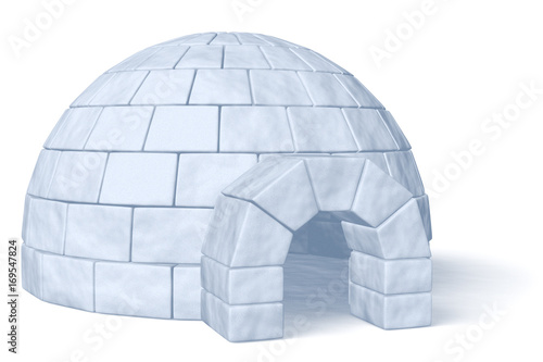 Poster Magie Igloo icehouse on white