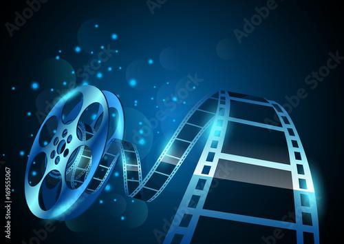 illustration of film reel stripe on abstract background Fototapet