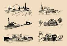 Vector Farm Landscapes Illustr...