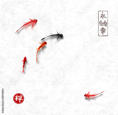 Keuken foto achterwand Retro Little black and red fishes hand drawn with ink on rice paper background. Traditional oriental ink painting sumi-e, u-sin, go-hua. Contains hieroglyphs - eternity, freedom, happiness, zen