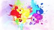 Colorful ink drop in water. Falling colorful ink in water with colored background