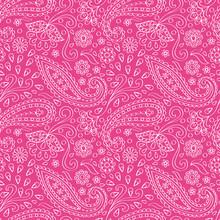 Pink Paisley Seamless Pattern