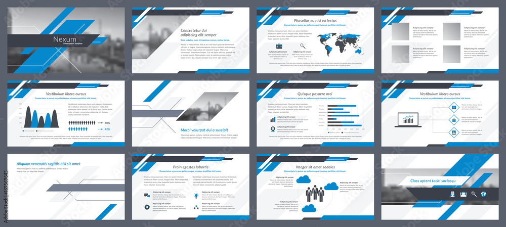 Fototapety, obrazy: Elements of infographics for presentations templates. Annual report, leaflet, book cover design. Brochure layout, flyer template design. Corporate report, advertising template in vector Illustration.