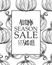 Design Banner For Season Sale. Autumn Sale Poster With The Decor Of Paper Cut Pumpkins. The Fall Sale With Sketches. Engraving Retro Vector Illustration.