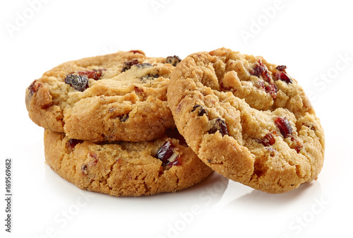 Biscuit cookies with dried fruit
