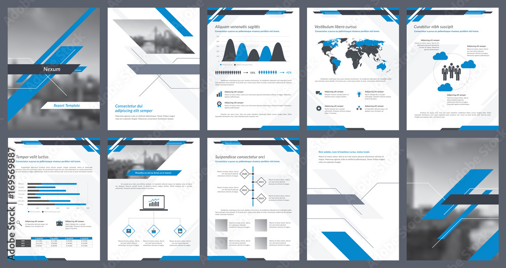 Fototapeta Elements of infographics for report template and presentations templates. Corporate annual report, leaflet, book cover design, brochure and flyer template design. Vector Illustration.