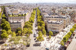 Aerial cityscape view on the beautiful buildings near Triumphal arch during the sunny day in Paris