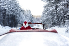 Santa Claus And Car