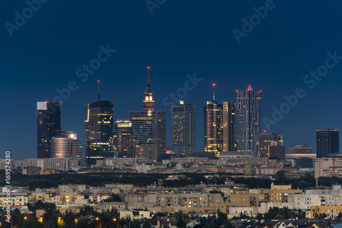 Warsaw city downtown at night