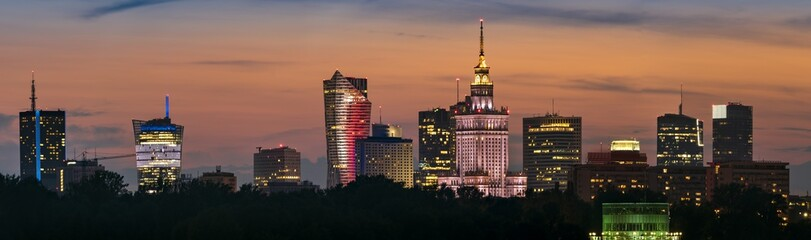 Panoramic view of Warsaw city downtown