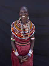 Portrait Of Samburu Lady. Kenya, Africa.