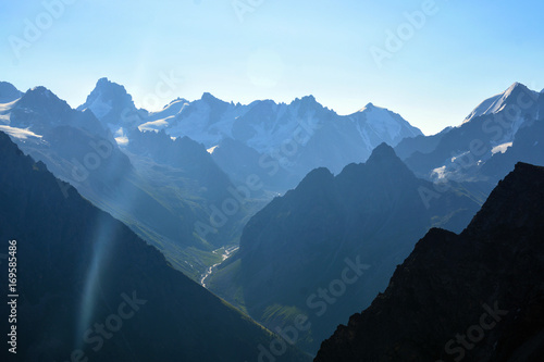 Garden Poster Scandinavia amazing landscape of rocky mountains and blue sky, Caucasus, Russia