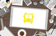 Schreibtisch mit Tablet - Bus