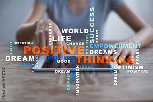 Fotografie, Obraz  Positive thinking Life change. Business concept. Words cloud.