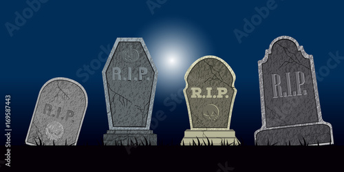 Valokuvatapetti Set of halloween tombs