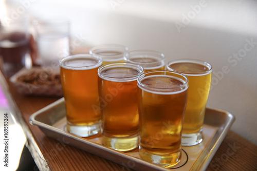 Photo  Craft Beer Tasting Flight, Inside  A Pub
