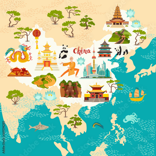 Plakat Chiny abstrakcyjna mapa, ręcznie rysowane ilustracji wektorowych. Podróż ilustracja Chiny z ikony zabytki, świątynia, smok, mnich Shaolin, latarnie, pandy i ryżu pola