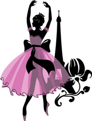 FototapetaGraphic silhouette of a ballerina woman. Isabelle series