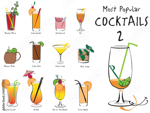 Valokuva  Colorful vector illustration of the most popular cocktails