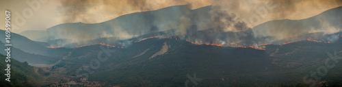 Incendio en el paraje natural de los Ancares leoneses, España Canvas Print