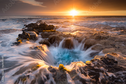 Obraz na plátně  Pools of Paradise during Sunset at the Coast of Hawaii (Big Island)